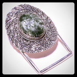 Russian Seraphinite Gemstone 925Silver Belt Buckle